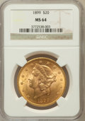 Liberty Double Eagles: , 1899 $20 MS64 NGC. NGC Census: (1509/73). PCGS Population (435/18).Mintage: 1,669,384. Numismedia Wsl. Price for problem f...