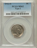 Buffalo Nickels: , 1913-S 5C Type Two MS62 PCGS. PCGS Population (144/840). NGCCensus: (175/495). Mintage: 1,209,000. Numismedia Wsl. Price f...