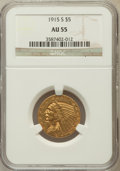 Indian Half Eagles, 1915-S $5 AU55 NGC. NGC Census: (263/698). PCGS Population(106/393). Mintage: 164,000. Numismedia Wsl. Price for problem f...