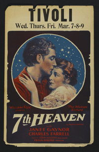 """Seventh Heaven (Fox, 1927). Window Card (14"""" X 22""""). Drama. Directed by Frank Borzage. Starring Janet Gaynor..."""