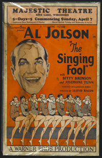 """The Singing Fool (Warner Brothers, 1927). Window Card (14"""" X 22""""). Musical. Directed by Lloyd Bacon. Starring..."""