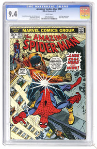 The Amazing Spider-Man #123 (Marvel, 1973) CGC NM 9.4 White pages. Luke Cage, aka Hero for Hire, aka Power Man appears...