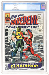 Daredevil #18 (Marvel, 1966) CGC NM 9.4 Off-white pages. Origin and first appearance of Gladiator. John Romita Sr. cover...