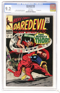 Daredevil #30 (Marvel, 1967) CGC NM- 9.2 White pages. Thor guest-stars. Gene Colan cover and art. Overstreet 2006 NM- 9...