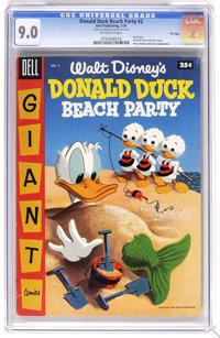 Dell Giant Comics - Donald Duck Beach Party #2 File Copy (Dell, 1955) CGC VF/NM 9.0 Off-white pages. Painted front and b...