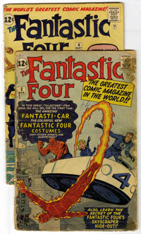Fantastic Four #3 and 4 Group (Marvel, 1961). Issue #3 (FR) features the debut of the F.F.'s costumes, headquarters, and...