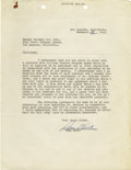 """Movie/TV Memorabilia:Autographs and Signed Items, Sam Wood Signed """"Pride of the Yankees"""" Agreement. A single pageagreement dated December 18, 1941, between Samuel Goldwyn In...(Total: 1 Item)"""