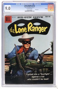 The Lone Ranger #125 File Copy (Dell, 1958) CGC VF/NM 9.0 Off-white pages. Photo cover. Overstreet 2006 VF/NM 9.0 value...