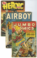 Golden Age (1938-1955):Miscellaneous, Miscellaneous Golden Age Group (Various Publishers, 1945-55). Includes Jumbo #126 (GD/VG), Airboy V5#6 (GD-), Hero... (Total: 6 Comic Books)