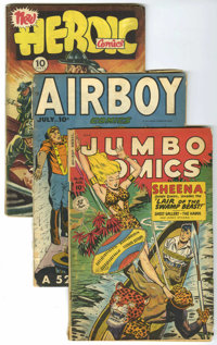 Miscellaneous Golden Age Group (Various Publishers, 1945-55). Includes Jumbo #126 (GD/VG), Airboy V5#6 (GD-), Hero... (T...