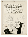 Original Comic Art:Covers, Art Bartsch (attributed) - Terry-Toons Comics #9 Cover Original Art(Pines, 1953). Presented here is another great Terry-T...