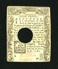Colonial Notes:Connecticut, Connecticut July 1, 1780 9d Choice About New. A lovely punchcancelled Connecticut note which has a very light fold and whic...