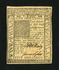 Colonial Notes:Delaware, Delaware January 1, 1776 5s Very Choice New. The sides margins arejust a touch too small for the gem grade but the paper qu...