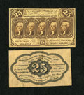 Fractional Currency:First Issue, Fr. 1282SP 25c Narrow Margin Specimen Pair First Issue Choice New. The face specimen is strictly Choice New as the paper is ... (Total: 2 notes)