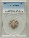 Barber Dimes, 1914-D 10C MS64 PCGS. PCGS Population (120/62). NGC Census:(105/60). Mintage: 11,908,000. Numismedia Wsl. Price for proble...