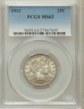 Barber Quarters: , 1911 25C MS63 PCGS. PCGS Population (84/142). NGC Census: (55/110).Mintage: 3,720,543. Numismedia Wsl. Price for problem f...