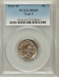 Buffalo Nickels: , 1913-D 5C Type One MS65 PCGS. PCGS Population (717/390). NGCCensus: (502/183). Mintage: 5,337,000. Numismedia Wsl. Price f...
