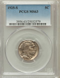 Buffalo Nickels: , 1925-S 5C MS63 PCGS. PCGS Population (206/274). NGC Census:(113/185). Mintage: 6,256,000. Numismedia Wsl. Price for proble...