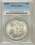 Morgan Dollars: , 1892 $1 MS64 PCGS. PCGS Population (1381/260). NGC Census:(812/101). Mintage: 1,037,245. Numismedia Wsl. Price for problem...