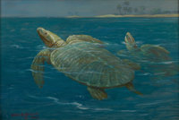 """ORIGINAL OIL PAINTING BY NOTED AMERICAN NATURAL HISTORY ARTIST CHARLES R. KNIGHT """"Two Cretaceous Archelons"""" -..."""