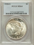 Peace Dollars: , 1928-S $1 MS64 PCGS. PCGS Population (1783/48). NGC Census:(1284/40). Mintage: 1,632,000. Numismedia Wsl. Price for proble...
