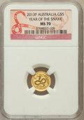 Australia, 2013 G$5 Year of the Snake MS70 NGC. NGC Census: (0). PCGS Population (0)....