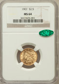 Liberty Quarter Eagles: , 1902 $2 1/2 MS64 NGC. CAC. NGC Census: (704/545). PCGS Population(722/502). Mintage: 133,500. Numismedia Wsl. Price for pr...