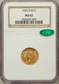 Indian Quarter Eagles: , 1925-D $2 1/2 MS62 NGC. CAC. NGC Census: (6242/8941). PCGSPopulation (3525/5948). Mintage: 578,000. Numismedia Wsl. Price ...