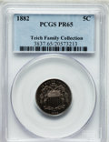 Proof Shield Nickels, 1882 5C PR65 PCGS. Ex: Teich Family Collection. PCGS Population(300/252). NGC Census: (284/265). Mintage: 3,100. Numismedi...