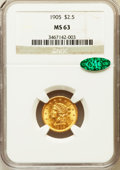 Liberty Quarter Eagles: , 1905 $2 1/2 MS63 NGC. CAC. NGC Census: (1304/2520). PCGS Population(1568/2209). Mintage: 217,800. Numismedia Wsl. Price fo...