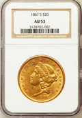 Liberty Double Eagles: , 1867-S $20 AU53 NGC. NGC Census: (158/398). PCGS Population(45/92). Mintage: 920,750. Numismedia Wsl. Price for problem fr...