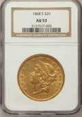 Liberty Double Eagles: , 1868-S $20 AU53 NGC. NGC Census: (232/589). PCGS Population(52/144). Mintage: 837,500. Numismedia Wsl. Price for problem f...