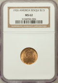 Commemorative Gold: , 1926 $2 1/2 Sesquicentennial MS62 NGC. NGC Census: (1197/5555).PCGS Population (1371/8787). Mintage: 46,019. Numismedia Ws...