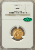 Indian Quarter Eagles: , 1927 $2 1/2 MS63 NGC. CAC. NGC Census: (3682/3135). PCGS Population(2804/2340). Mintage: 388,000. Numismedia Wsl. Price fo...
