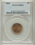 Indian Cents: , 1860 1C MS63 PCGS. PCGS Population (295/621). NGC Census:(223/549). Mintage: 20,566,000. Numismedia Wsl. Price forproblem...