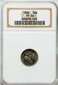 Proof Three Cent Nickels, 1889 3CN PR66 NGC. NGC Census: (224/50). PCGS Population (254/51).Mintage: 3,436. Numismedia Wsl. Price for problem free N...