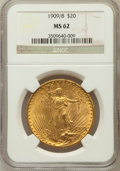 Saint-Gaudens Double Eagles: , 1909/8 $20 MS62 NGC. NGC Census: (352/111). PCGS Population(533/522). Numismedia Wsl. Price for problem free NGC/PCGS coi...