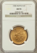 Indian Eagles: , 1908 $10 Motto AU55 NGC. NGC Census: (118/4071). PCGS Population(234/3644). Mintage: 341,300. Numismedia Wsl. Price for pr...