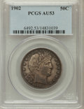 Barber Half Dollars: , 1902 50C AU53 PCGS. PCGS Population (15/225). NGC Census: (6/167).Mintage: 4,922,777. Numismedia Wsl. Price for problem fr...