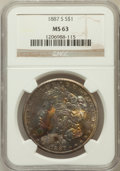 Morgan Dollars: , 1887-S $1 MS63 NGC. NGC Census: (1560/1121). PCGS Population(2626/2108). Mintage: 1,771,000. Numismedia Wsl. Price for pro...