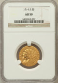 Indian Half Eagles, 1914-S $5 AU50 NGC. NGC Census: (34/1306). PCGS Population(47/845). Mintage: 263,000. Numismedia Wsl. Price for problem fr...