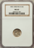 Seated Half Dimes, 1855 H10C Arrows MS65 NGC....