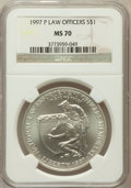 Modern Issues: , 1997-P $1 Law Enforcement Silver Dollar MS70 NGC. NGC Census:(199). PCGS Population (138). Numismedia Wsl. Price for prob...