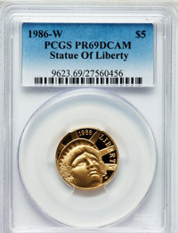 1986-W G$5 Statue of Liberty Gold Five Dollar PR69 Deep Cameo PCGS. PCGS Population (10931/609). NGC Census: (6815/3520)...