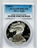 Modern Bullion Coins: , 1998-P $1 Silver Eagle PR70 Deep Cameo PCGS. PCGS Population(1087). NGC Census: (1043). Numismedia Wsl. Price for problem...