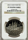 Modern Issues: , 2002-W $1 West Point Silver Dollar PR70 Ultra Cameo NGC. NGCCensus: (1659). PCGS Population (206). Numismedia Wsl. Price ...