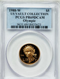 Modern Issues, 1988-W G$5 Olympic Gold Five Dollar PR69 Deep Cameo PCGS. Ex: U.S.Vault Collection. PCGS Population (8551/437). NGC Census...