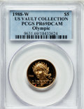 Modern Issues, 1988-W G$5 Olympic Gold Five Dollar PR69 Deep Cameo PCGS. Ex: U.S.Vault Collection. PCGS Population (8551/437). NGC Censu...