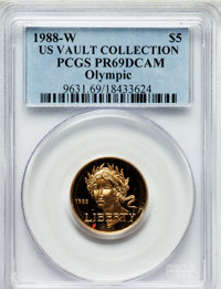 1988-W G$5 Olympic Gold Five Dollar PR69 Deep Cameo PCGS. Ex: U.S. Vault Collection. PCGS Population (8551/437). NGC Cen...
