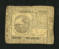 Colonial Notes:Continental Congress Issues, Continental Currency November 2, 1776 $6 Very Fine-Extremely Fine.But for a tiny edge nick at the top of the centerfold thi...